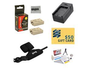 2 Extended Life Replacement Battery Packs For Canon LP-E5 LPE5 For Canon EOS 450D 500D 1000D T1i XSi XS DSLR Digital + 1 hour Charger + Opteka GS-3 Grip/Wrist Strap + $50 Photo Print Gift Card!