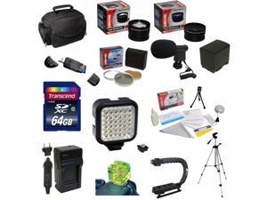 Ultimate Accessory Kit for Canon Vixia HF G10 HF G20 HF G30 HF S20 HF S21 HF S30 HF S200 with 32GB Memory Card, 3 Piece Filter, BP-819 Battery, Charger, Tripod, X-GRIP, LED Light, Microphone and More
