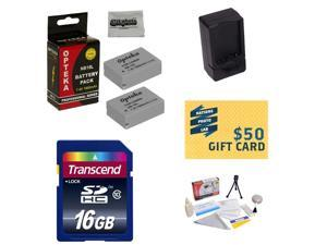2 Extended Life Replacement Batteries For the NB10L NB-10L For Canon PowerShot SX40 SX50 HS & G1 X + Rapid Charger + 16GB Transcend Memory + Deluxe Cleaning Kit + Mini Tripod + $50 Photo Gift Card!