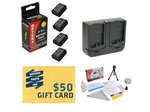 4 Extended Life Replacement Battery Packs For LP-E10 LPE10 For Canon EOS Rebel T3 DSLR Cameras + Rapid Charger + Deluxe Cleaning Kit + LCD Screen Protectors + Mini Tripod + $50 Photo Print Gift Card!