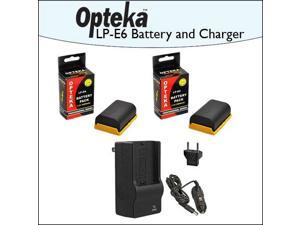 2 Pack of Opteka Canon Replacement LP-E6  2400mAh Ultra High Capacity Li-ion Battery Pack & Rapid Charger for Canon EOS 5D Mark 2 3 II III 5DM2 5DM3 6D 7D 60D 60Da 70D DSLR Digital Camera