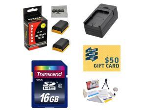 2 Extended Life Replacement Battery Packs For Canon LP-E6 LPE6 For Canon EOS 5D Mark II & III, 6D, 7D, 60D and 70D DSLR + 1 hour Charger + 16GB Transcend Memory + Mini Tripod + $50 Photo Gift Card!