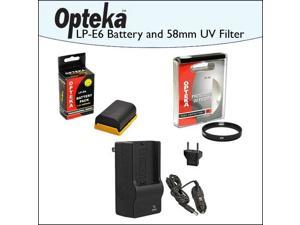 2 Pack of Opteka Canon Replacement LP-E6 2400mAh Ultra High Capacity Li-ion Battery Pack & Charger with UV Ultra Violet Haze Multi-Coated Glass Filter for Canon EOS 5D Mark II III 6D 7D 60D 70D DSLR