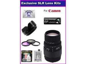 Sigma 70-300mm f/4-5.6 DG Macro Telephoto Zoom Lens For Canon EOS 5D Mark 2 3 II III 5DM2 5DM3 6D 7D 60D 70D With 3 piece Filter Kit, 6 Year Extended Lens Warranty, 1 Replacement Canon LP-E6 Battery