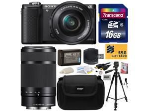 Sony Alpha A5000 20.1 MP Interchangeable Lens Camera with 16-50mm & 55-210mm F4.5-6.3 OSS Lens with 16GB Class 10 SDHC Memory Card + NP-FW50 Battery + Tripod + Carrying Case + $50 Gift Card