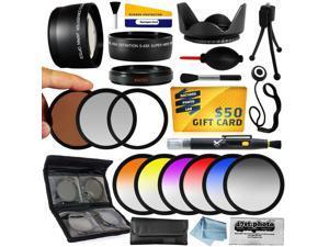 25 Piece Advanced Lens Package For Sony Alpha NEX-6 NEX-7 NEX-3N NEX-5T NEX-5R Mirrorless Digital Cameras Includes 0.43X + 2.2x Lens + 3 Piece Pro Filters + 6 Piece Colored Filter Set + $50 Gift Card!