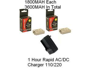 2 Canon LP-E5 Replacement Batteries 1800MAH Each Extended Life Li-ion Battery Packs + 1 Hour Rapid AC/DC 110/220V Replacement Charger LC-E5 / CBC-E5 for Canon EOS Rebel XS XSi & T1i