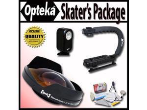 "Opteka Deluxe ""Skaters"" Package (Includes the Opteka 0.3X Ultra Fisheye Lens, X-Grip Handle & VL-20 LED Video Light for Hitachi VM-E110, VM-E230, VM-E310, VM-E455, VM-E520, VM-E521, VM-E535, VM-E635"