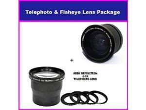 58mm 3.5X HD Professional Telephoto lens & 0.35x HD Super Wide Angle Panoramic Macro Fisheye Lens For CANON EOS 1000D 450D 400D 500D EOS 5D REBEL XT XTI XSI T1I T2I
