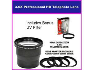 3.5X HD Professional Telephoto lens For Canon Powershot A650 Includes Bonus 72MM Protective UV Filter Tube Adapter Included