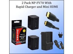 2 High Capacity NP-FV70 4 Hour Batteries + Charger + Mini HDMI For Sony DCR-SX63 DCR-SX83 DCR-SR68 DCR-SR88 SONY HDR-CX110 HDR-CX150 HDR-CX300 HDR-CX350 HDR-CX500V HDR-CX550V HDR-CXR150 XR350V XR550V