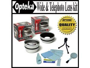 Opteka 0.45x Wide Angle & 2.2x Telephoto HD2 Pro Lens Set for Canon VIXIA HV30, HG10, & HV20 Digital Camcorders -