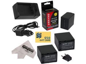 3 Opteka NP-FV100 4500mAh Ultra High Capacity Li-ion Battery Packs, Charger for Sony MC50, NX30, NX70, TD10, TD20, TD30, HC9, VG10, VG20, VG900, AX100  Camcorder with Cleaning Cloth,$50 Gift Card