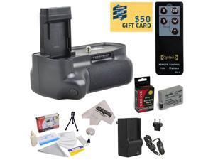 Opteka (4516B001) BG-E8 BGE8 Replacement Vertical Battery Grip for the Canon EOS Rebel T2i T3i T4i T5i 550D 600D 650D 700D Kiss X4 X5 X6 X6i X7i DSLR Digital Camera Includes 2 Extended Life Canon LP-E