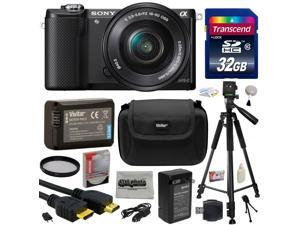 Sony Alpha A5000 20.1 MP Interchangeable Mirrorless Lens Camera with 16-50mm OSS Lens ILCE5000L with 32GB Memory Card + NP-FW50 Battery + Tripod + Carrying Case + Camera Cleaning Kit + $50 Gift Card