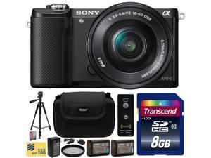 Sony Alpha A5000 20.1 MP Interchangeable Mirrorless Lens Camera with 16-50mm OSS Lens ILCE5000Lwith 8GB Class 10 SDHC Memory Card + x2 NP-FW50 Battery + Charger + Tripod + Case + $50 Gift Card