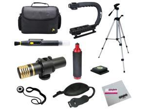Opteka Videographers Deluxe Kit with VM-2000 Microphone, Case, Tripod, X-Grip and More for Canon, Nikon, Sony and Pentax Digital SLR Cameras