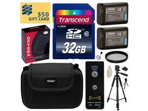 Beginner's Kit for Sony includes 32GB SDHC Memory Card, 2 NP-FW50 Battery, Charger with Car and European Adapter, Tripod, Case, Wireless Shutter, UV Filter, Ring Adapter, Cleaning Kit, $50 Gift Card