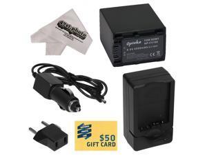 Opteka NP-FV100 4500mAh Ultra High Capacity Li-ion Battery Pack, Charger for Sony MC50, NX30, NX70, TD10, TD20, TD30, HC9, VG10, VG20, VG900, AX100 Camcorder w/ 47stphoto Cleaning Cloth, $50 Gift Card
