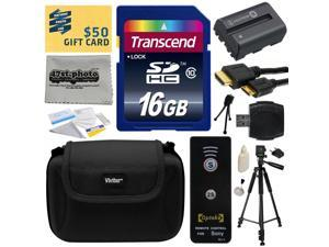 Must Have Kit for Sony Alpha includes 16GB SDHC Memory Card, NP-FM500H Battery, Tripod, Carrying Case, Wireless Shutter, HDMI to HDMI Mini Cable, SD Card Reader, Cleaning Kit, Bonus $50 Gift Card