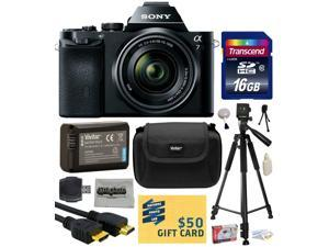 Sony a7K A7 Full-Frame DSLR 24.3 MP Interchangeable Digital Lens Camera with FE 28-70mm f/3.5-5.6 OSS Lens with 16GB Memory Card + NP-FW50 Battery + Tripod + Carrying Case + Cleaning Kit + $50 Card
