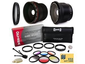 Professional Panoramic Macro Lens & Filters Accessories Bundle for Sony A3500, A7, A7R, A7S, A100, A200, A230, A290, A300, A330, A350, A380, A390, A450, A500, A550, A560, A580, A700, A850, A900, A33,