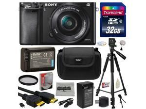 Sony Alpha a6000 24.3 MP Interchangeable Mirrorless Lens Camera with 16-50mm Power Zoom Lens with 32GB Memory Card + NP-FW50 Battery + Tripod + Hard Shell Carrying Case + Bonus $50 Gift Card