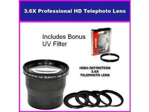 Digital Concepts 3.5X HD Professional Telephoto lens For Olympus Sp-590 Includes Bonus 72MM Protective UV Filter Tube Adapter Included