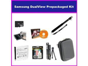 Essential Accessory Package For The Samsung DualView TL225 TL220 TL90 Digital Camera Includes 8GB Micro SD Memory, Card Reader, SLB-07A Replacement Spare Battery, Hard Shell Slim Case, + Flexible Mini