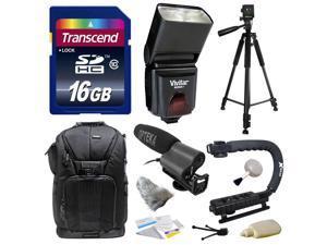 Best Value Kit for Sony NEX, Alpha, Cybershot, SLT Series with Opteka VM-100 Directional Mini-Shotgun Microphone, Transcend 16GB Memory Card, Vivitar DF-293 Flash for Sony (VIVDF293S), Tripod and more