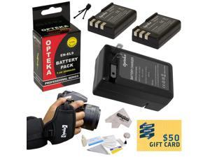 2 Extended Life Replacement Battery Packs For the Nikon EN-EL9 EL9 2000mAh Each 4000mAh in Total For The Nikon D40 D40x D60 D3000 D5000 DSLR Digital Camera + 1 Hour Charger + 16GB+ $50 Gift Card!