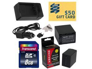 2 Opteka NP-FV100 4500mAh Ultra High Capacity Li-ion Battery Packs, Charger for Sony MC50 NX30 NX70 TD10 TD20 TD30 HC9 VG10 VG20 VG900 AX100 Camcorder with 8GB Memory Card,Cleaning Cloth,$50 Gift Card