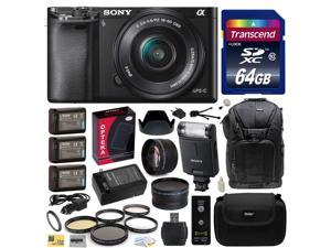 Sony Alpha a6000 24.3 MP Interchangeable Mirrorless Lens Camera with 16-50mm Power Zoom Lens with Sony HVL-F20M External Flash + 64GB  Memory Card + x3 NP-FW50 Battery + DSLR Sling Travel Backpack