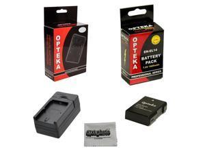 Opteka EN-EL14 1800mAh Ultra High Capacity Li-ion Battery Pack for Nikon D5300 D5200 D3100 D5100 D3200 D3300 DF Coolpix P7000 P7100 P7700 P7800 DSLR Cameras & Rapid Battery Charger & Cleaning Cloth