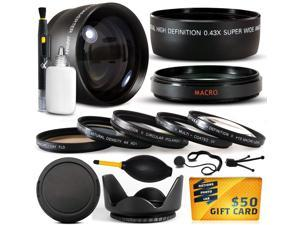 10 Piece Ultimate 58mm Lens Package For the Canon Vixia HF G10, HF G20, HF G30, HF S20, HF S21, HF S30, HF S200, XF100, XF105 Includes .43x + 2.2x Telephoto + Pro 5 Piece Filter Kit + $50 Gift Card!
