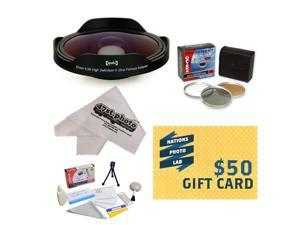 Opteka Platinum Series 0.3X HD Ultra Fisheye Lens Kit for All Sony, JVC, Canon, Panasonic & Samsung camcorders with 37MM, 34MM, 30.5MM, 30MM & 25MM filters with 3 PC Filter, Cloth, $50 Gift Card!