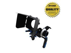 Opteka CXS-100 Dual Rig Kit with Shoulder Support, FF180 Reversible Follow Focus and MB360 Digital Matte Box for Digital SLR and Video Cameras