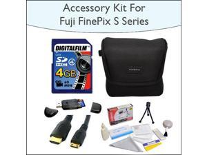 4GB Kit with 4GB SDHC High Speed Memory Card with Reader, Case for Fuji FinePix S Series, Mini HDMI Cable and 5 Piece Cleaning Kit for Fuji FinePix s2800 s2950 s3200 s4000 and HS20EXR Digital Cameras