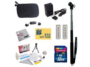 Ultimate Kit for Canon PowerShot Elph 530 520 N Digital Camera with 2 NB-9L Battery + Charger + Mini tripod + 32GB Micro SD Memory Card + Slim Carrying Case + $50 Gift Card + Cleaning Kit + More