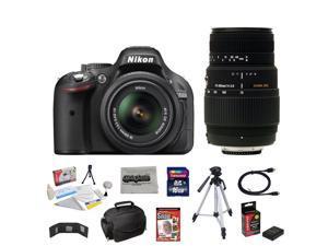 Nikon D5200 24.1 MP CMOS Digital SLR Camera with 18-55mm f/3.5-5.6 AF-S DX VR NIKKOR Zoom Lens + Sigma 70-300mm f/4-5.6 SLD DG Macro Lens + 10 Piece Accessory Bundle.