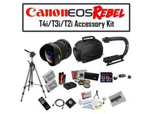 Deluxe Accessory Kit for Canon EOS Rebel T2i T3i T4i T5i 550D 600D 650D 700D Kiss X4 X5 X6 X6i X7i DSLR Digital Camera with Opteka 6.5mm f/3.5 Fisheye Lens, Two (2) Pack of Opteka LP-E8 LPE8 Extended