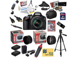 Nikon D3200 Digital SLR Camera with 18-55mm NIKKOR VR Lens With 64GB SDXC Card, Reader, 2 Batteries, Charger, 0.43x + 2.2x Lens, 5 Filter Kit, Case, Tripod, Handgrip, Strap, DVD, $50 Gift Card, More