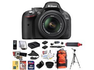 Nikon D5200 Digital SLR Camera & 18-55mm G VR DX AF-S Zoom Lens (Black) With 64GB Memory Card, 2 EN-EL14 Batteries + Charger, 5 PC Filter, HDMI Cable, Nikon Case, Tripod, HG-1, $50 Gift Card and more