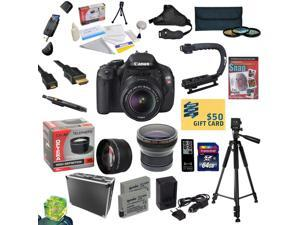 Canon EOS Rebel T3i DSLR Camera with EF-S 18-55mm f/3.5-5.6 IS STM Lens With 32GB Card, 2 Batteries, Charger, 0.20X, 2.2x Lens, 3 Filters, Case, Tripod, X-GRIP, Cleaning Kit, DVD, $50 Gift Card!