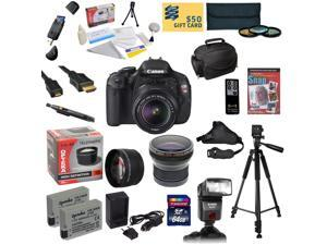Canon EOS Rebel T3i DSLR Camera with EF-S 18-55mm f/3.5-5.6 IS STM With 64GB SDXC Card, 2 Batteries, Charger, .20x and 2.2x Lens, 3 PC Filter Kit, AF Bounce Zoom Flash, HDMI Cable and More