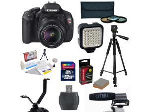 Canon EOS Rebel T3i DSLR Camera with 32GB SD Card, High Capacity Battery, LED Light, Microphone, Y-shaped Splitter Bracket, 3 PC Filter Kit (UV, CPL & FLD), Tripod, Lens Cleaning Kit