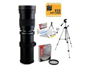 """Opteka 420-800mm f8.3 Telephoto Lens with Filter and 54"""" Tripod for Nikon D4s, D4, D3x, Df, D810, D800, D750, D610, D8100, D800, D7200, D7100, D5500, D5300, D5200, D3300 and D3200 Digital SLR Cameras"""