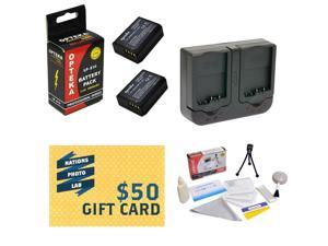 2 Extended Life Replacement Battery Packs For Canon LP-E10 LPE10 For EOS Rebel T3 1100D Cameras 2 Batteries + 1 hour Dual Rapid Charger + Deluxe Cleaning Kit + Mini Tripod + $50 Photo Print Gift Card!
