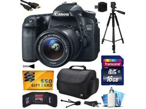 Canon EOS 70D Digital SLR Camera with 18-55mm STM Lens includes 16GB Memory + Large Case + Tripod + Card Reader + Card Wallet + HDMI Mini Cable + Cleaning Kit + $50 Gift Card 8469B009