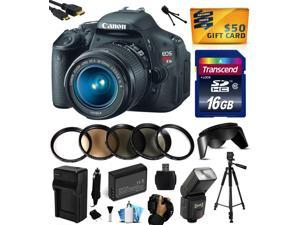 Canon EOS Rebel T3i Digital SLR Camera with EF-S 18-55mm f/3.5-5.6 IS Lens with 16GB Memory, Flash, Battery, Charger, Lens Hood, 5 PC Filters, Grip Strap, Cleaning Kit, $50 Gift Card 5169B003